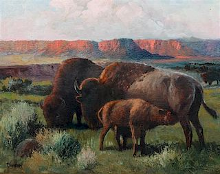 Charles Damrow, (American, 1916-1981), Buffalo Family