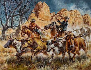 Harry Scharre, (American, 1922-2008), Red Rock Rustlers, 1996
