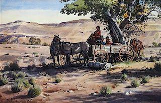 James Boren, (American, 1921-1990), Under the Cottonwood, 1972