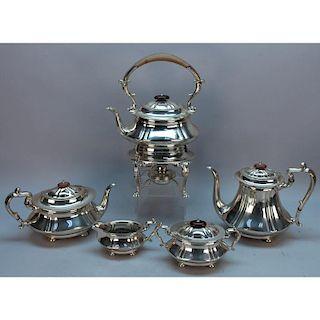 English Cheltenham 5 Pc. Sterling Silver Set