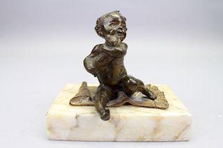 Antique Vienna Bronze Cherub on Marble base