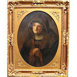 Circle of Rembrandt Fine Antique Portrait of Woman