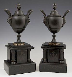 Pair of Bronze and Black Marble Coupes, c. 1880, t