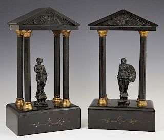 Pair of Black Marble and Spelter Temple Form Clock
