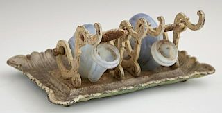 Unusual American Blown Glass and Cast Iron Double
