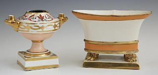Two Pieces of China, one a Derby inkwell with gilt