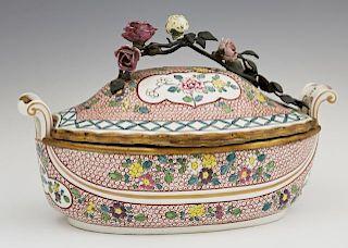 French Porcelain Gilt Metal Mounted Dresser Box, 1