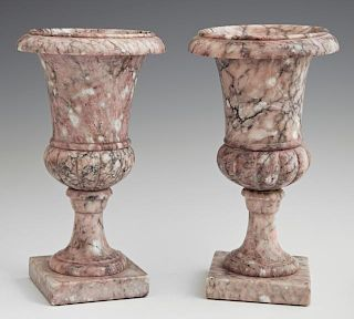 Diminutive Pair of Violet Marble Campana Urns, 20t
