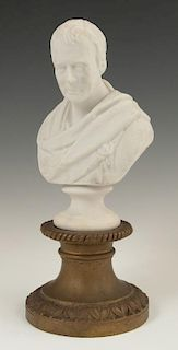 Parian Bust of Sir Walter Scott, 19th c., on an as