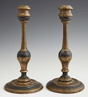 Pair of Carved Gilt and Polychromed Wood Candlesti