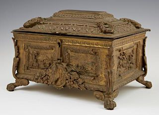 Continental Bronze Jewelry Casket, late 19th c., t