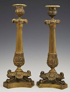 Pair of French Gilt Bronze Empire Style Candlestic