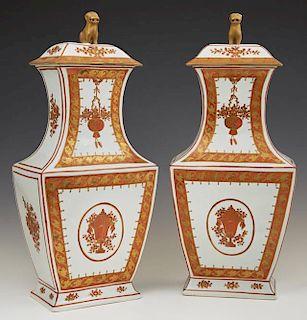 Pair of Italian Rectangular Chinese Style Baluster
