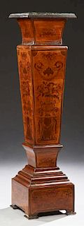 Continental Marquetry Inlaid Marble Top Pedestal,