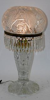 Brilliant cut crystal mushroom lamp