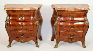 Pair of Louis XV style bombe chevets