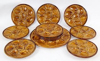 French S. Clement Majolica oyster plates