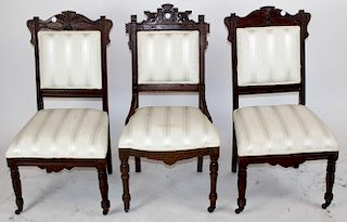 Lot of 3 American Victorian side chairs