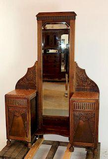 English Art Deco dressing mirror in carved oak