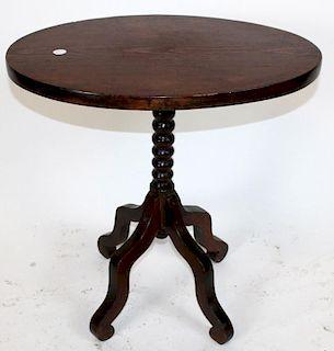 American pine bobbin base flip top oval table