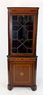 English fretwork glass corner cabinet