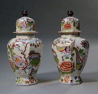 Pair of Mason's ironstone covered urns