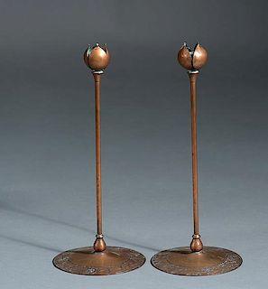 Pair of silver on bronze candlesticks signed Heintz