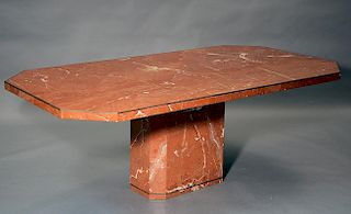 20th C. designer rouge marble dining table