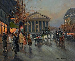 Oil on canvas, Paris - Madeleine - Rue Royal, after Edouard Cortes