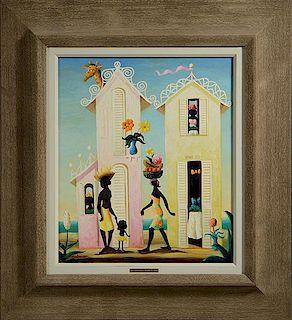 """Oil on canvas, """"La Chapeau Magnifique"""" signed Bulman"""