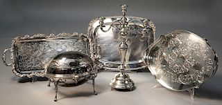 Continental silver .800 footed candelabra with three plated trays and one silver plate bun warmer
