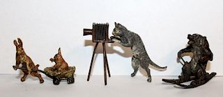 3 cold painted bronze whimsical animal figurines
