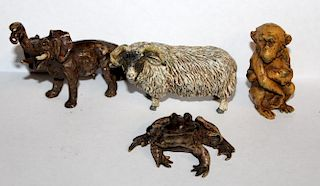 Lot of 4 cold painted bronze animals