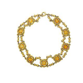 DURAND ART NOUVEAU CITRINE & YELLOW GOLD LINK BRACELET