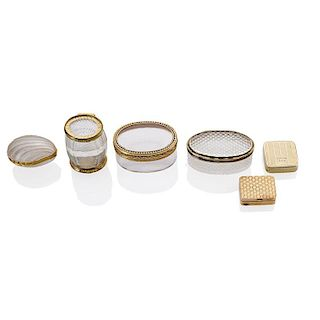 CRYSTAL OR GOLD SNUFF, POWDER OR PILL BOXES
