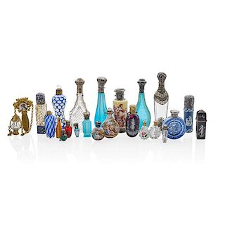 COLLECTION OF PERFUME FLACONS INCLUDES MINIATURES