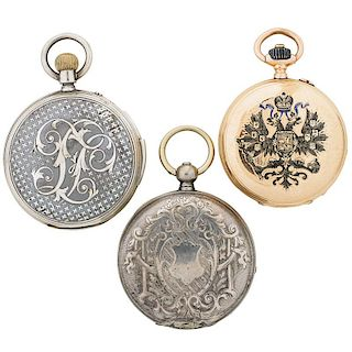 CHINESE OR RUSSIAN MARKET POCKET WATCHES, 19TH C.