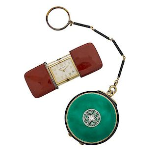 ENAMELED GOLD COMPACT & TIFFANY & CO. PURSE WATCH