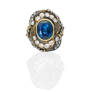 SAPPHIRE, DIAMOND, YELLOW & PATINATED GOLD RING