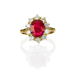 FACETED RUBY, DIAMOND & 18K GOLD RING