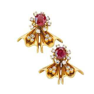 RETRO RUBY & DIAMOND YELLOW GOLD EARRINGS