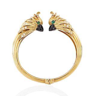 FRENCH DIAMOND, GEM-SET YELLOW GOLD COCKATIEL BRACELET