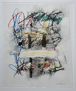 Mixed media abstract on glossy paper by Michael Goldberg