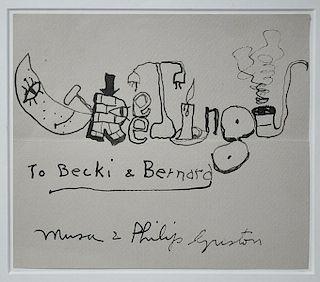 "Ink on paper, greeting card, ""Greetings to Becki & Bernard"""