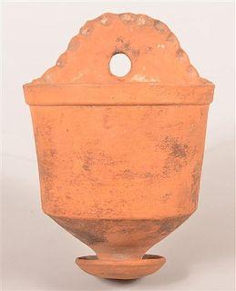 Antique Unglazed Redware Wall Vase.