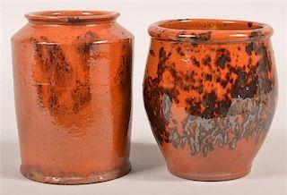 2 PA 19th Century Redware Glazed Storage Crocks.