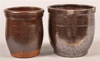 Two 19th Century Glazed Redware Crocks.