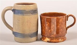 Two Various Antique Pottery Mugs.