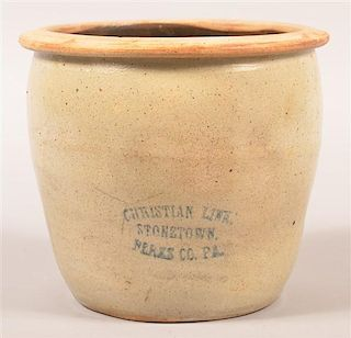 Christian Link Stonetown, Berks Co., PA 1 Gallon Crock.