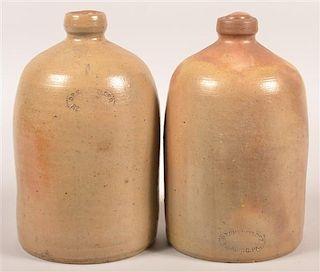 Two D.P. Shenfelder Reading, PA 1 Gal. Stoneware Jugs.